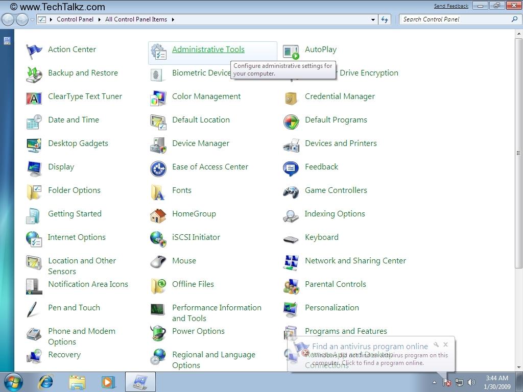 Administrative tools windows 7