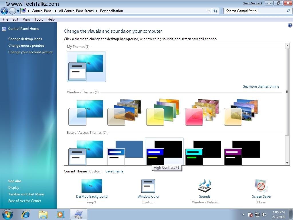 Change desktop background, screen saver, window colors and ...